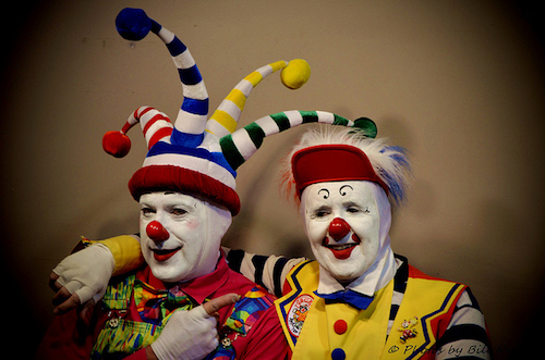 Two supposedly friendly clowns that still seem creepy