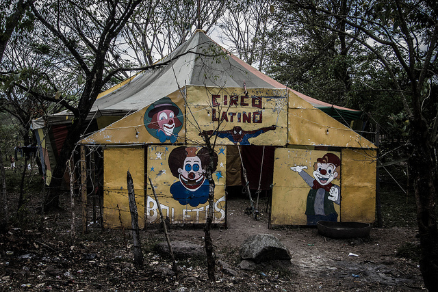 A photo of a creepy looking circus tent.