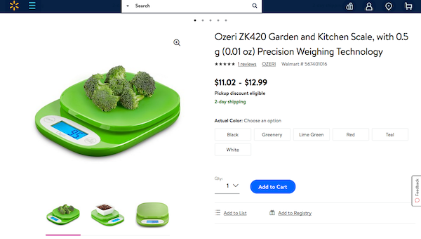 Food Scale sold on Walmart.com