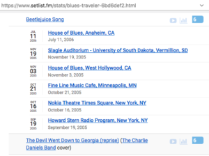 A screenshot showing Blues Traveler tour dates.