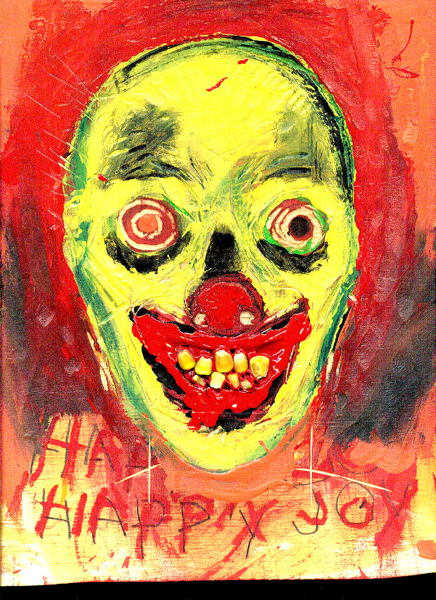 A painting of a creepy clown.