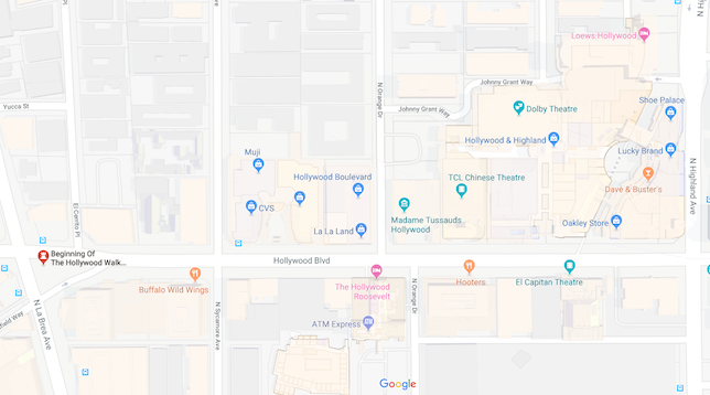 This is a screenshot of Hollywood Blvd from Google maps