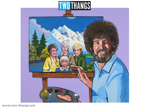 A photo of Bob Ross painting the Golden Girls