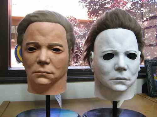 A side by side of William Shatner mask and Michael Myers mask.