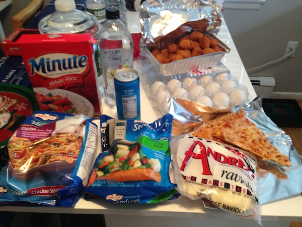 A photo of food on a counter.
